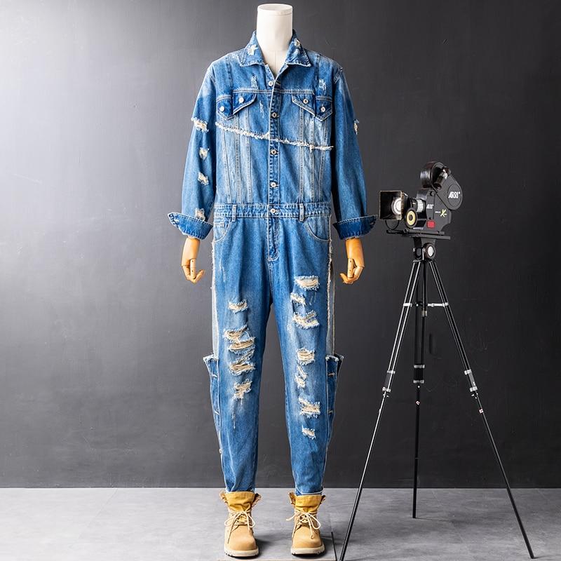 New European and American fashion denim jumpsuit men's trendy brand hip-hop jumpsuit singer cpstumes trousers
