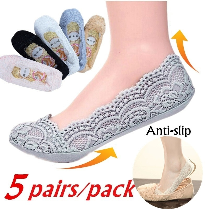 5pair/pack Women Lace Breathable Socks Fashion Soft Cotton Invisible Anti-slip Ankle Socks Ladies No Show Socks Non-slip Socks
