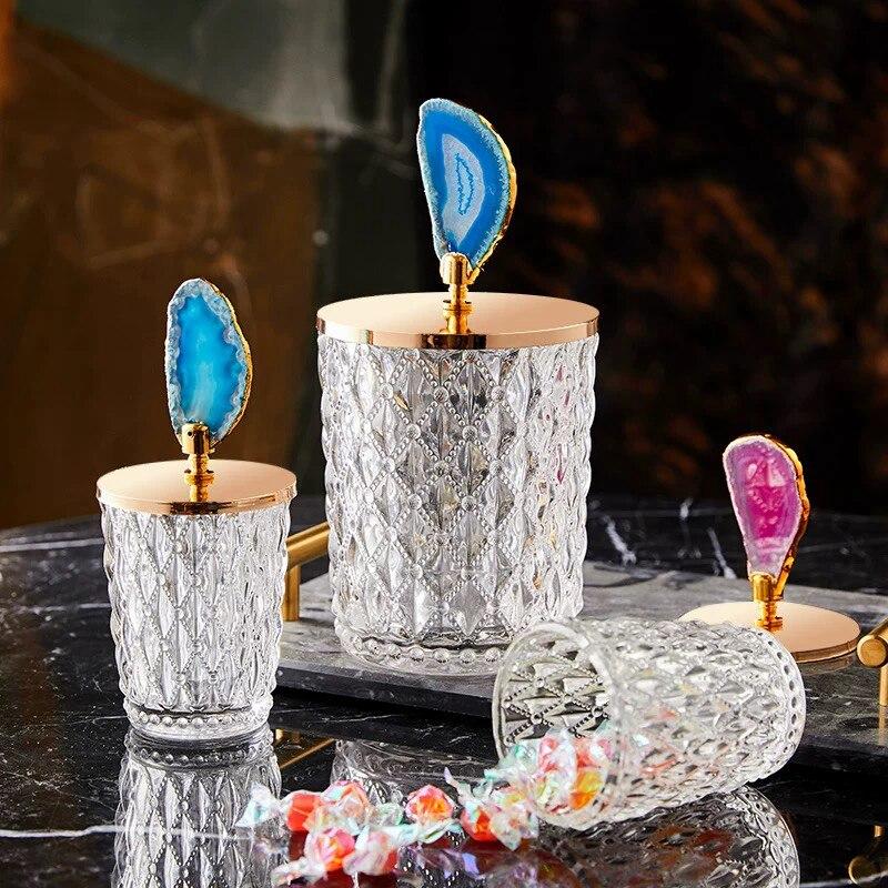 European Luxury Crystal Glass Storage Jars Sugar Cans Agate Candy Box Cotton Swab Box Cotton Pad Household Storage Decoration