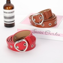2021-ELEGZO Female Waistband PU leather ladies solid color retro belt heart-shaped metal buckle ro