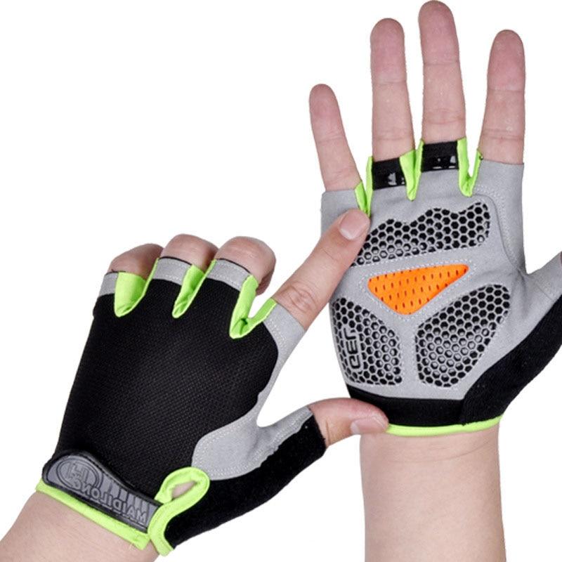 Silicone Anti-slip Anti-sweat Cycling Gloves Men Women Half Finger Gloves Breathable Anti-shock Spor