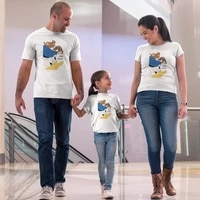 disney childrens clothing lively cute chip n dale print funny kids t shirt white family look dad mom and daughter clothes