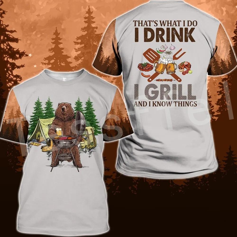 Tessffel Animal Cartoon Bear Hunting I hate people Love Camping Funny NewFashion 3DPrint Summer Casual T-Shirts Short sleeve S-4
