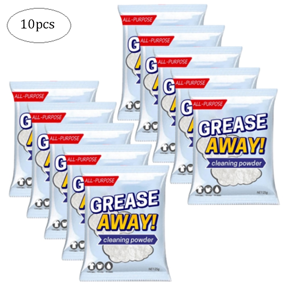 10pcs Multi-purpose Kitchen Grease Cleaner Powder Decontamination Powders Cleaning Deodorization Household Kitchen Cleaner natural camphor tree household bug repellent deodorization mothballs wood 10pcs
