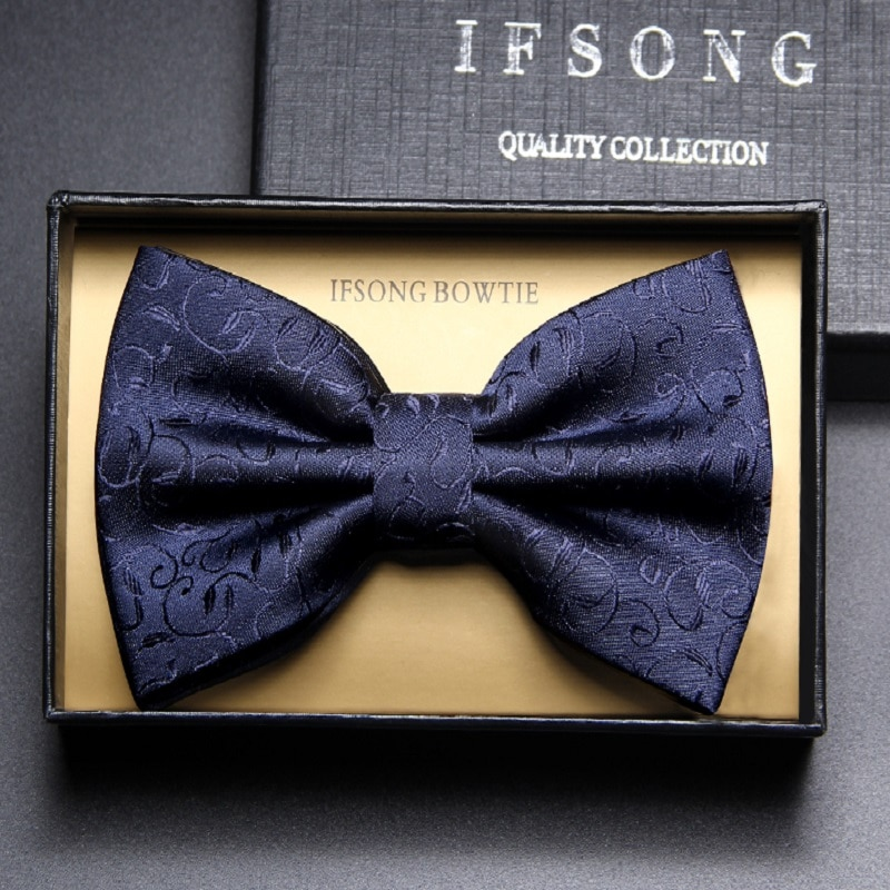 2019 New Fashion Men's Bow Ties Wedding Double Fabric Aristocratic pattern Bowtie Club Banquet Butterfly Tie with Gift Box