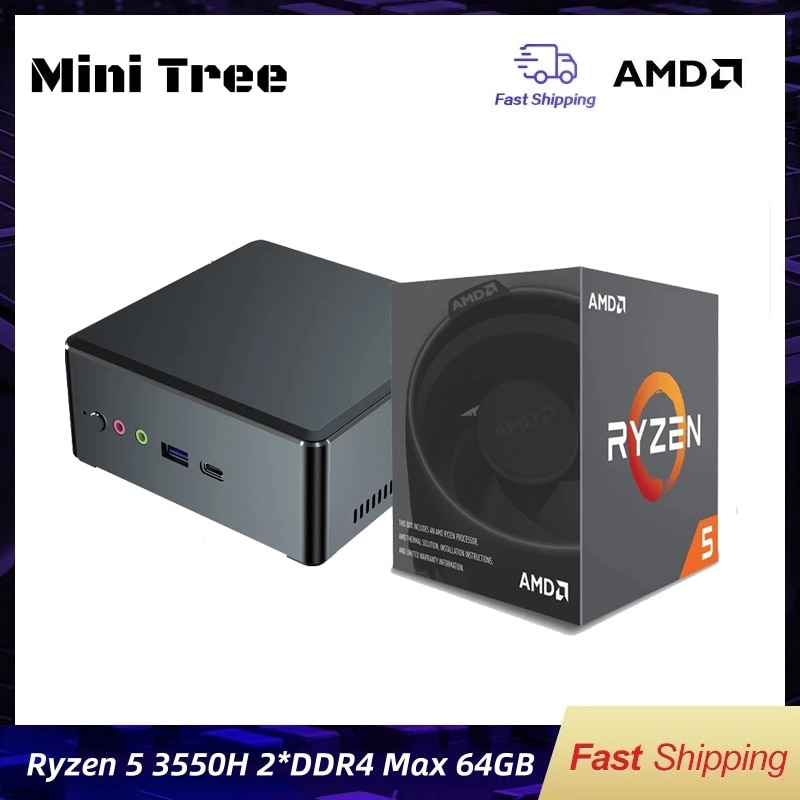 Factory Cheap Mini Pc AMD Ryzen5 3550H R3 2200U R7 2700U Radeon Vega 8 Graphics 8 Core Windows10 Pro HDR Game Desktop Computer