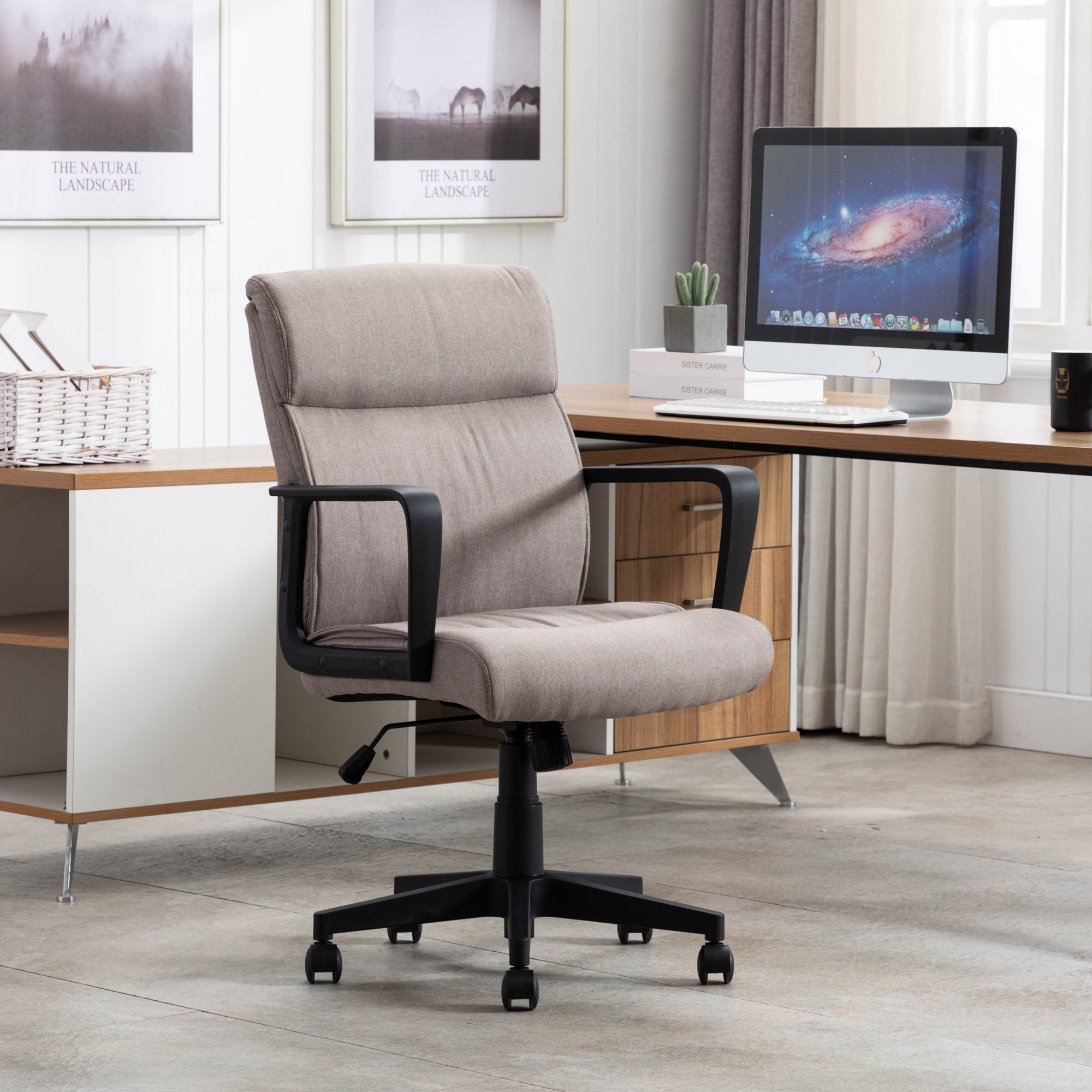 homall ribbed office chair mid back pu leather executive conference desk chair adjustable swivel chair with comfortable arms Nordic Style Office Chair Spring Cushion Mid Back Executive Desk Swivel Task Chair With Wheels Office Furnitures