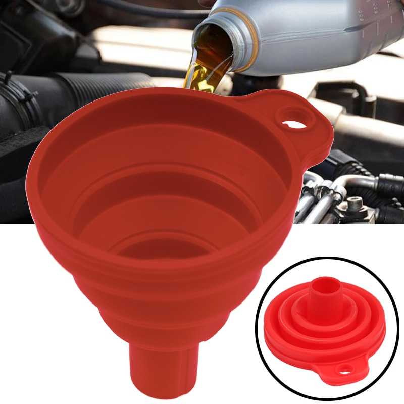 Car Auto Engine Funnel Gasoline Oil Fuel Petrol Diesel Liquid Washer Fluid Change Fill Transfer Universal Collapsible Silicone