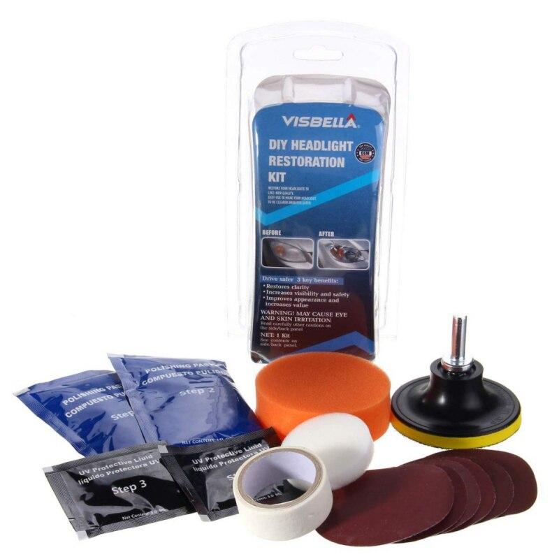 Outils de nettoyage de phares   Kit de éclaircissement des phares, polisseuse de voiture réparation de restauration de phares de voiture *