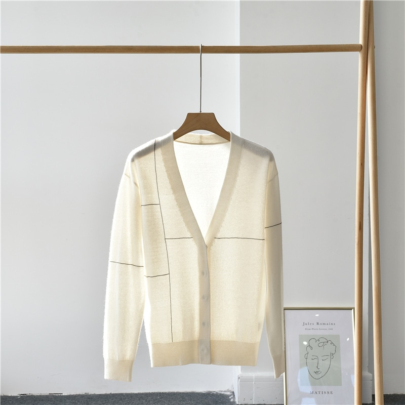 SHUCHAN Design Women Cardigan  Office Lady 2021 Spring Thin 100% Cashmere Sweater V-Neck  Covered Button  Geometric Top enlarge