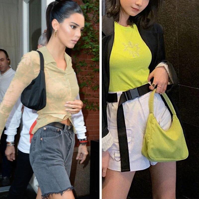 Kendall Jenner Bella Hadid Ins estilo famoso clásico Simple Baguette bolso Mini bolsos de hombro Retro moda Nylon bolso de las mujeres