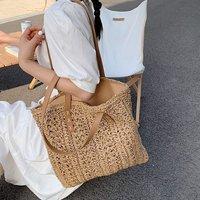 Вместительные большие летние пляжные соломенные сумки 2021, простые Роскошные брендовые модные дорожные женские сумки через плечо, тоуты с р...