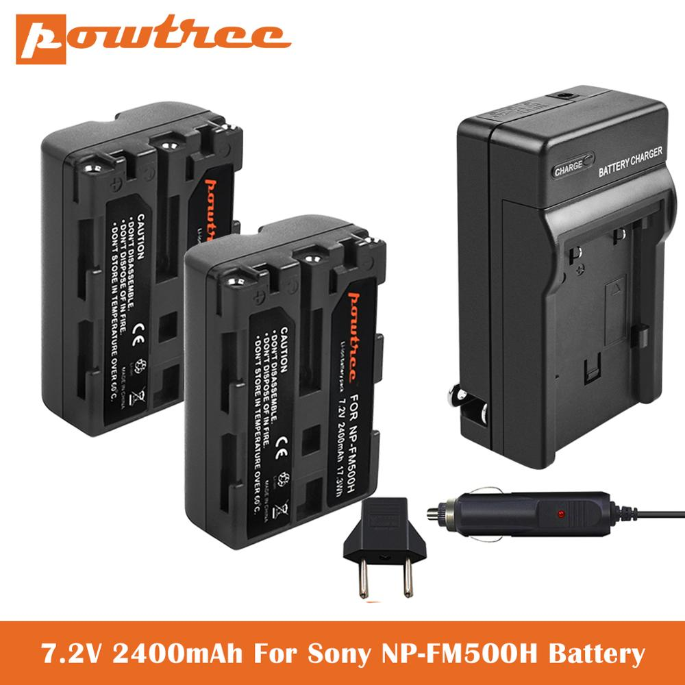 2.4Ah NP-FM500H reemplazo de la batería + cargador USB para Sony Alpha...