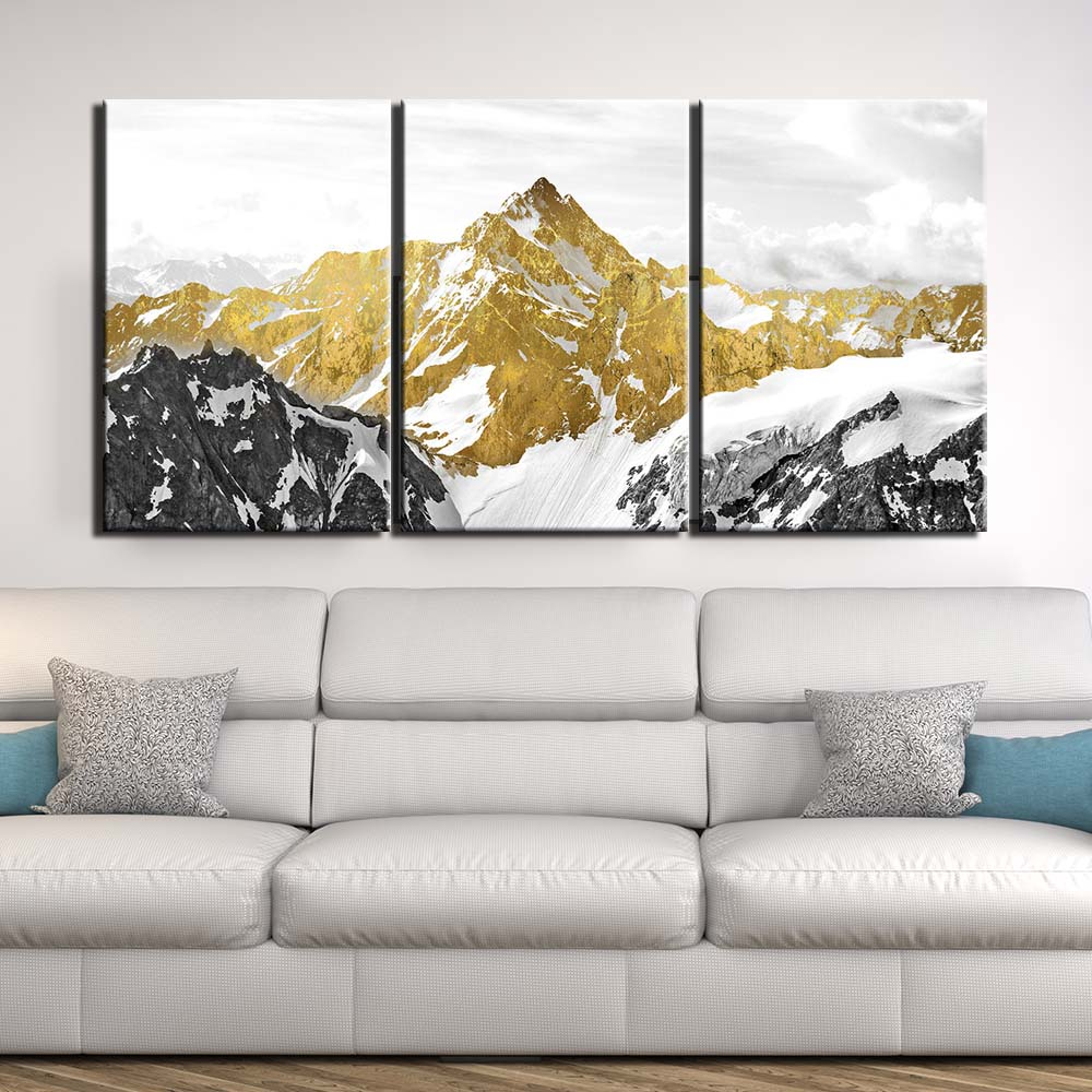 Cuadros de lienzo Marco de póster de arte de pared 3 piezas abstractas cuadros de montaña decoración para el hogar