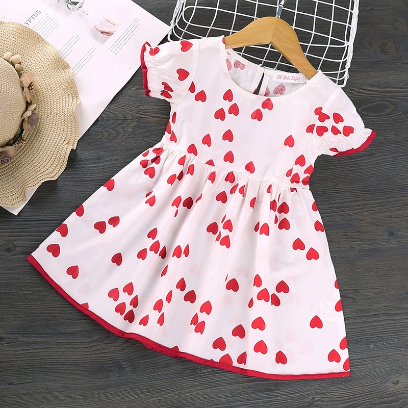 Summer Kid Baby Girl Round Neck Fashion Heart Printing Children Princess Dress Sweet Wavy Short-sleeved White Red A-line Dress