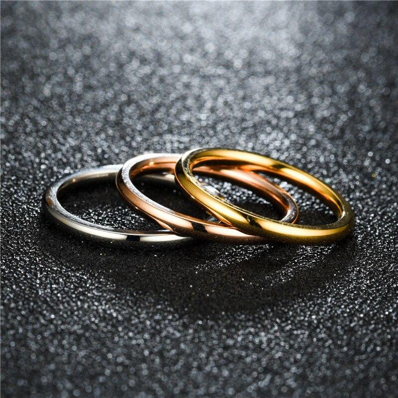 Zorcvens 2020 novo feminino anéis de aço inoxidável ouro prata cor anti-alergia suave simples casamento anéis de casais para a mulher
