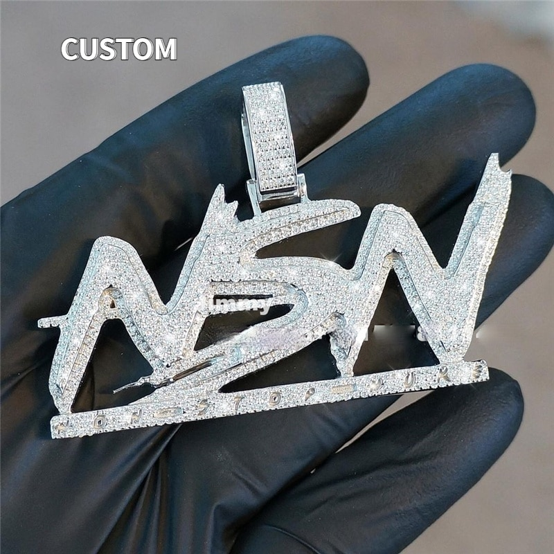 P&Y 2021 Customized HipHop Iced out Letter Pendant Jewelry Pass Diamond Tester Full With VVS Moissanite Diamond
