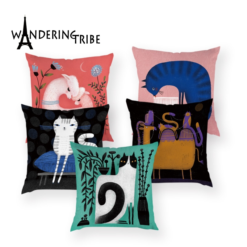 Colorful Cartoon Cat Cushion Cover Cute Monkey Decor Pillow Case Animal Home Decorative Sofa Car Throw Pillows Covers Cushions