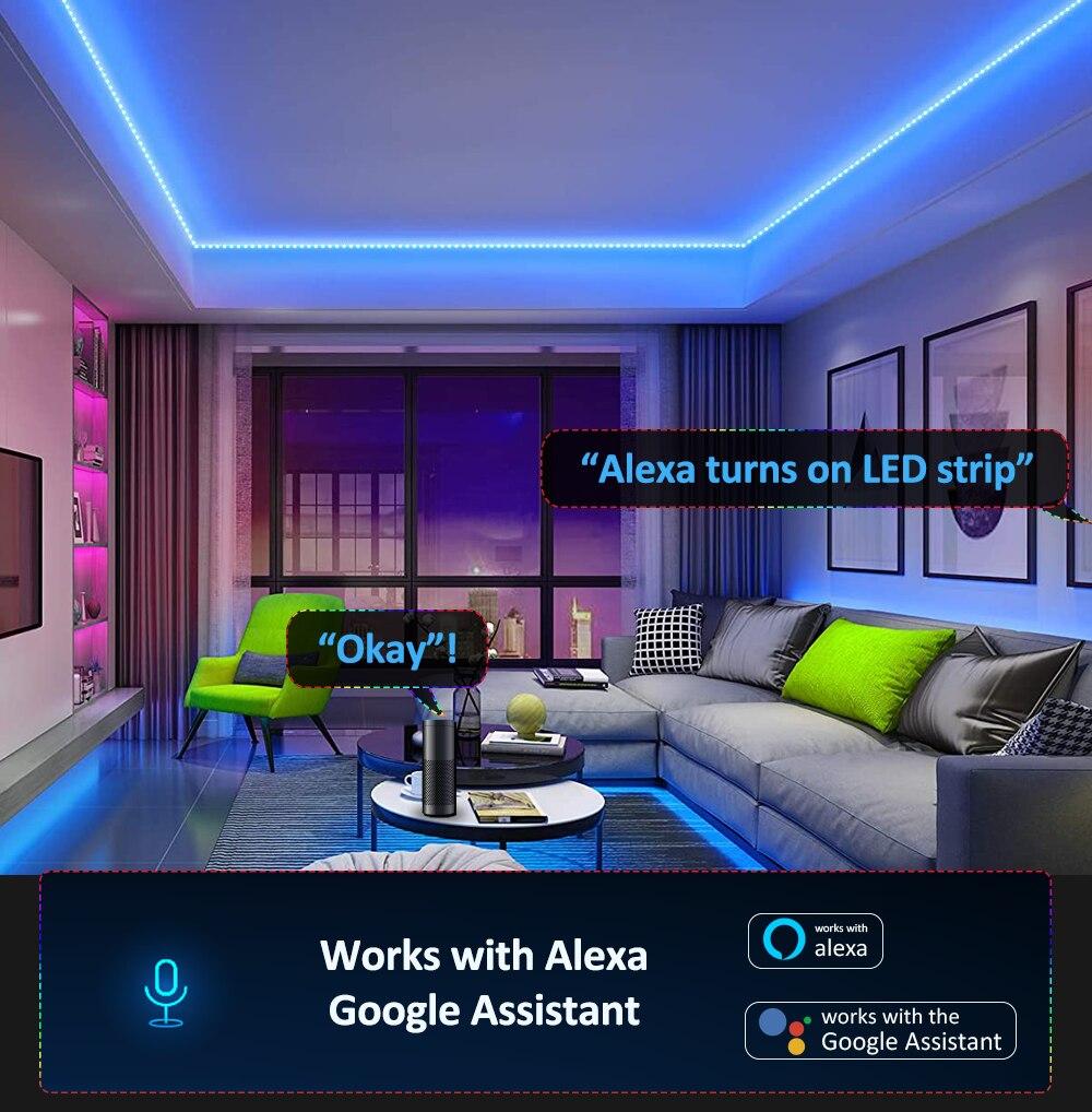 Светодиодная лента,Светодиодные ленты, совместимы с Alexa Google Home, светодиодный светсветильник льник с Wi-Fi управлением ler 5050 RGB, App и дистанционным управлением, для украшения дома