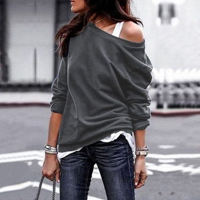 Knitted Long Sleeved Top women's Sexy One Shoulder Pullover Hollow Soft Knitted Blouse Solid Color Casual Blouse