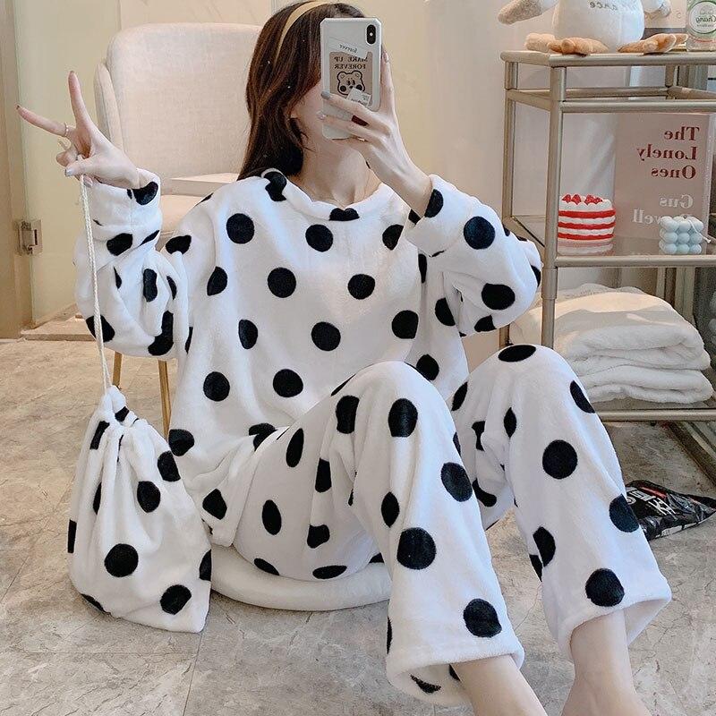 Pijamas de lana de Coral para mujer, punto grueso holgada de ropa...