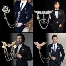 Broche haut de gamme cristal strass chaîne gland métal robe de mariée costume Corsage collier épinglette hommes accessoires bijoux de luxe