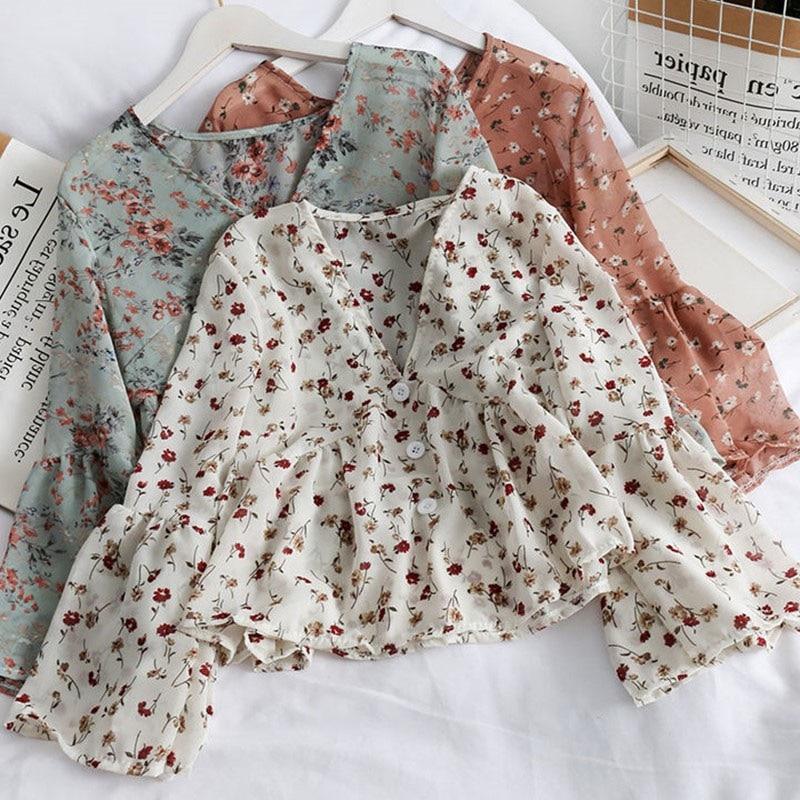 random floral print blouses with choker Women's V Neck Fashion Floral Print Chiffon Blouses Sweet Small Fresh Long Sleeves Chiffon Shirt Blouses