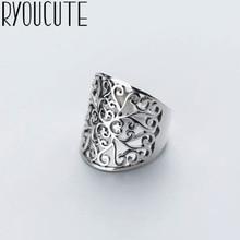 Bohème Vintage grand creux motif fleur anneau pour femmes femme dame Antique Knuckle Cocktail anneaux Boho bijoux Anillos