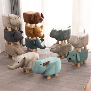 For Home Solid Wood Cartoon Animal Stool Children's Creative Shoes Stool Elephant Sofa Footstool Household Cloth Shoes Stool