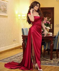 red prom dresses 2021 sweetheart neckline mermaid side slit evening dresses gowns