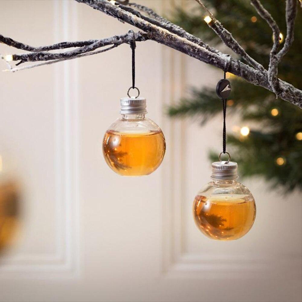 Tazas de agua esféricas transparentes, tazas de bebidas de plástico, Adornos de árbol de Navidad rellenas de bebidas, botellas de agua, tazas de bulbos de jugo de leche
