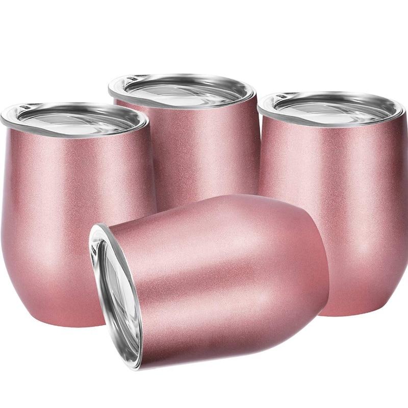 1 مجموعة 4 قطعة 12 Oz غير قابلة للكسر Drinkware Stemless النبيذ بهلوان الفولاذ المقاوم للصدأ الثلاثي معزول فراغ النبيذ الزجاج كوب مع الأغطية