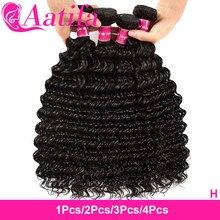 Onda profunda pacotes de cabelo virgem 1/2/3/4 pacotes extensão do cabelo brasileiro feixes tecer cabelo 100% feixes de cabelo humano aatifa cabelo