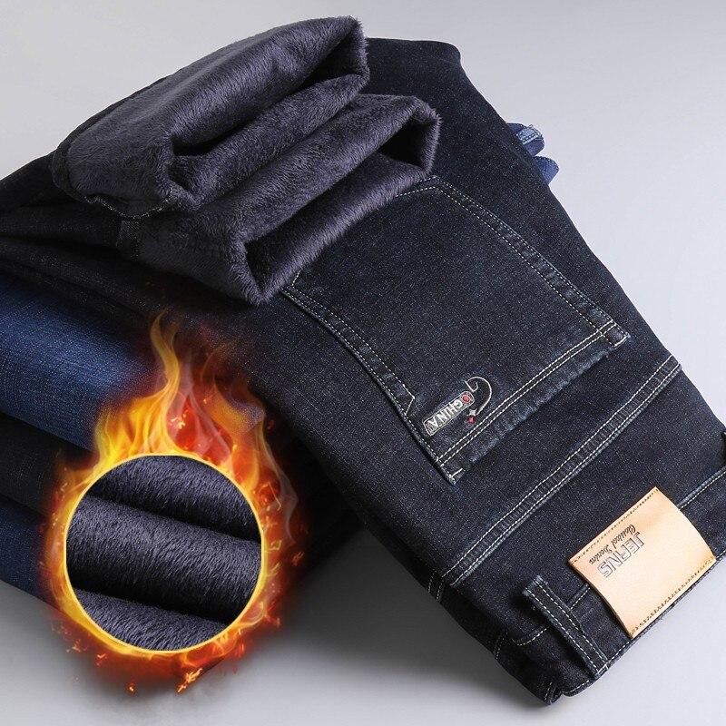 Зимние теплые фланелевые Стрейчевые джинсы мужские зимние качественные флисовые брюки от известного бренда мужские прямые брюки из флока ...