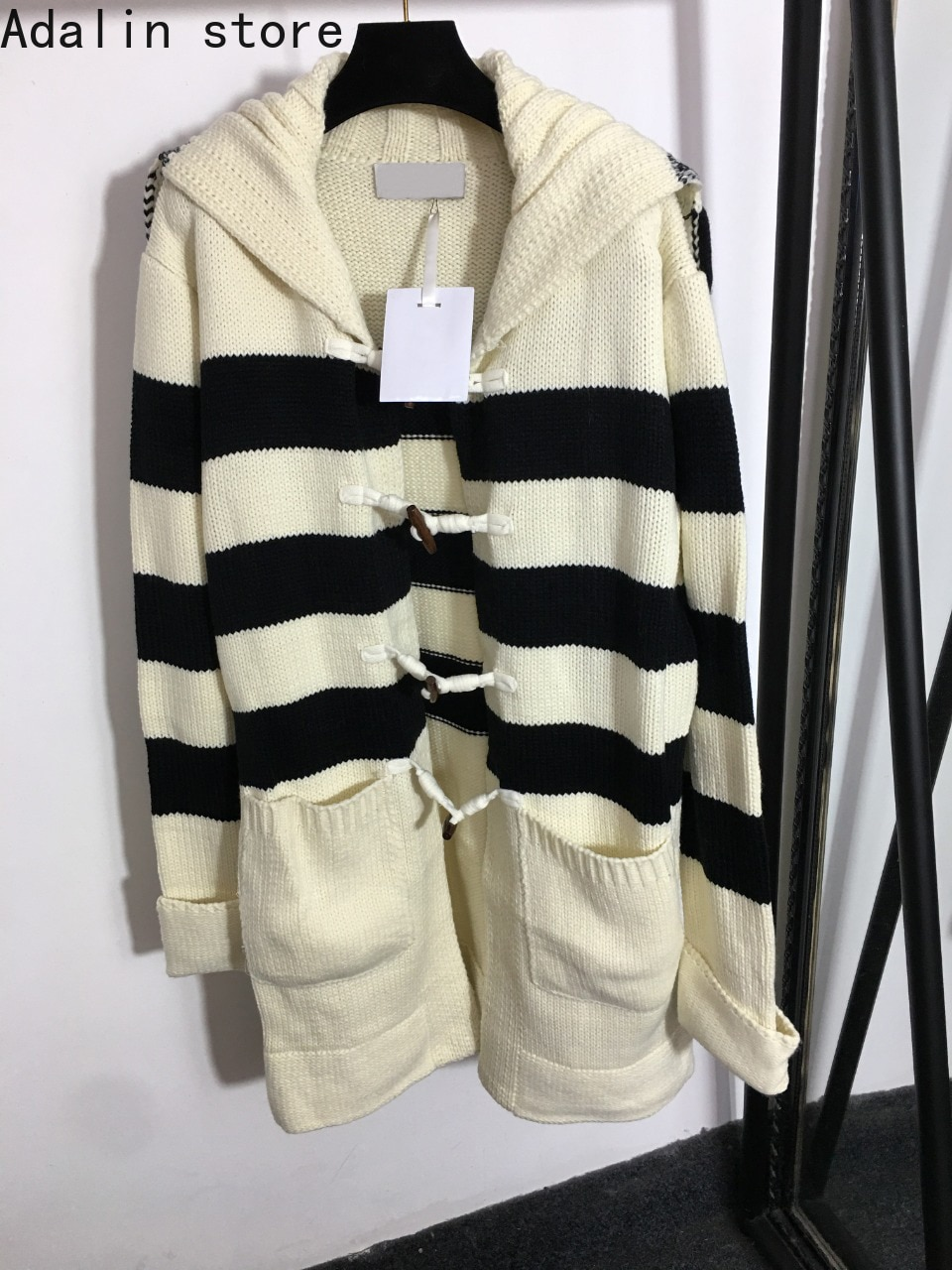 2021 high quality autumn winter stripe fashion women's Navy collar long sleeve long coat Vintage ox horn button knitted cardigan enlarge