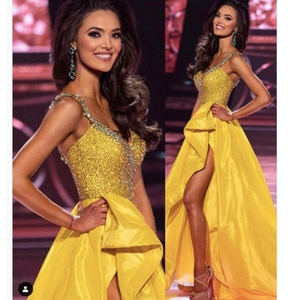 yellow prom dresses 2021 sweetheart neckline beading sequins crystal side slit ruffle ball gown long evening dresses gowns