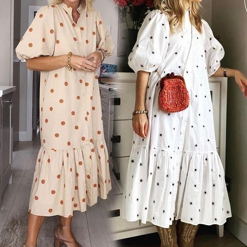 QWEEK Summer Women's Dress 2021 Casual White Polka Dot Print Midi Dress Boho Puff Sleeve Ruffle Patchwork Party Loose Vestido