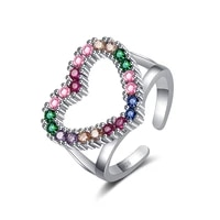 bohemia colorful rainbow heart rings for women multicolor shiny zirconia female trendy wedding jewelry open rings accessories