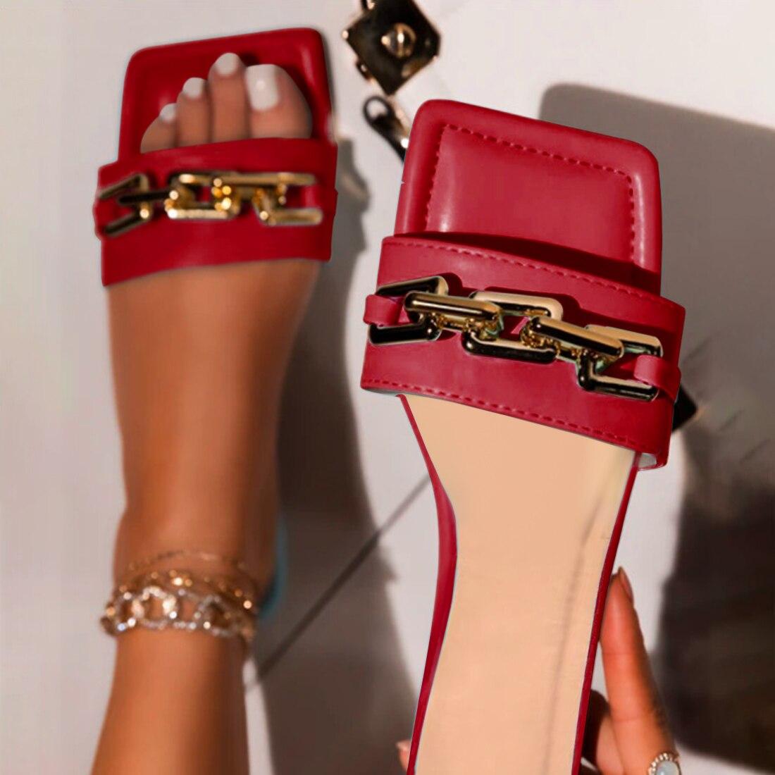 Women Slipper Sandals New Design Gold Chain Closed Toe Slip On Mules Shoes Flat Heels Square Head Casual Slides Flip Flop 2021