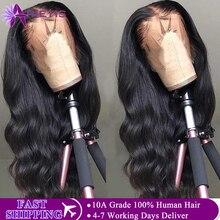 Perruque Lace Frontal Wig 360 Body Wave brésilienne Remy   Cheveux naturels, 13x4, Lace Front Wig, Transparent HD, densité 150%