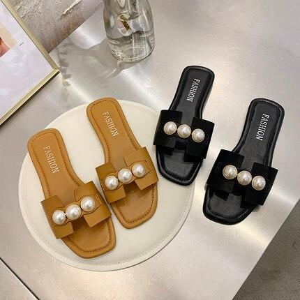 Zapatos de mujer, zapatillas de señora, cordón bajo de lujo, diapositivas, Pantofle, diseñador de verano suave, 2020, cuero plano básico unido