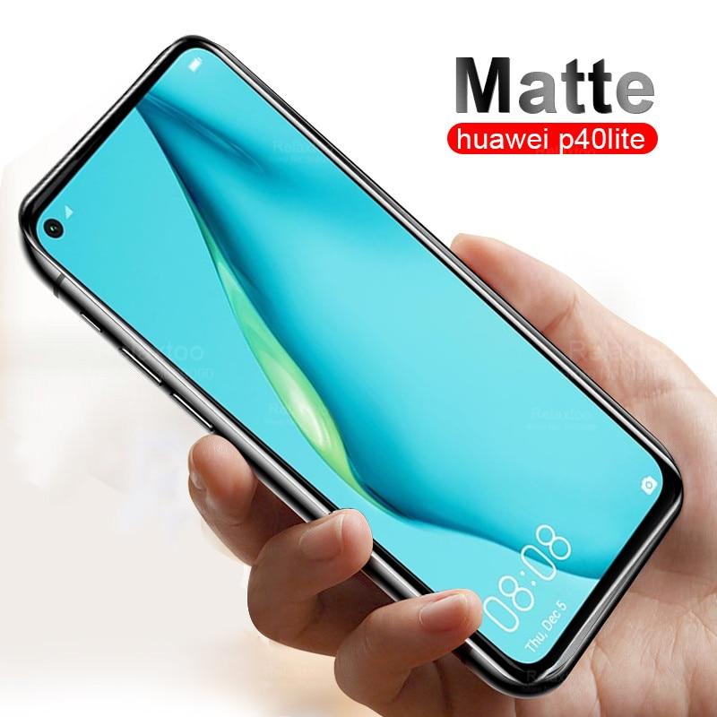 Protector de pantalla mate anti-huella digital para huawei p40 lite p 40 lite p 40 lite vidrio protector esmerilado templado vidrio templado p40lite