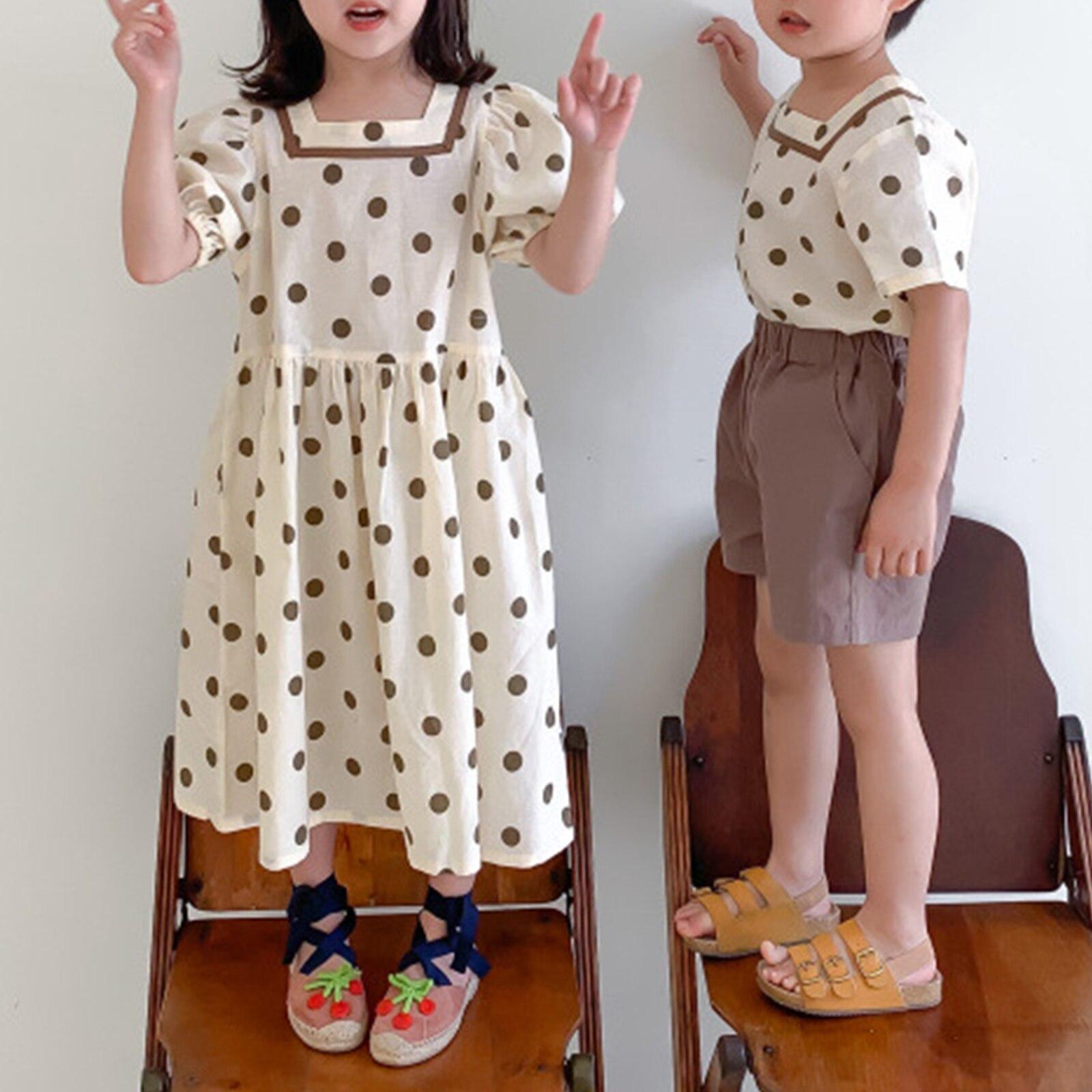 Brother ملابس شقيقة 2021 ملابس صيفية طفل بنين قطعتين دعوى دوت طباعة بنات فستان قطن موضة التوائم ملابس وتتسابق