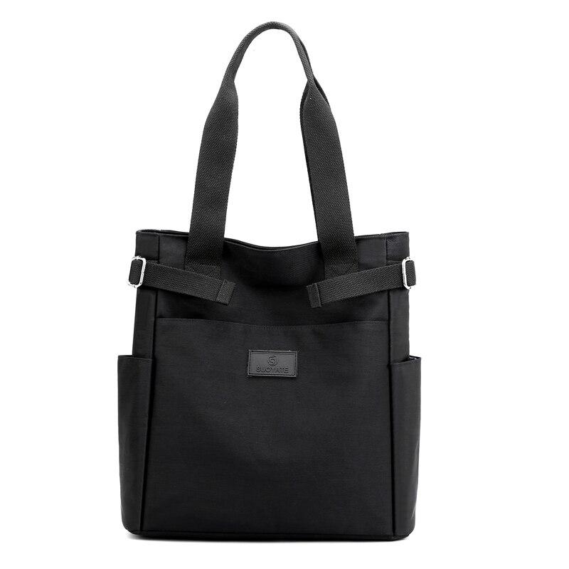 Casual Tote For Women's 2021 Fashion Nylon Shoulder Bag Solid Color Waterproof Shopping Bag Soft Zipper Black Travel Handbag Sac