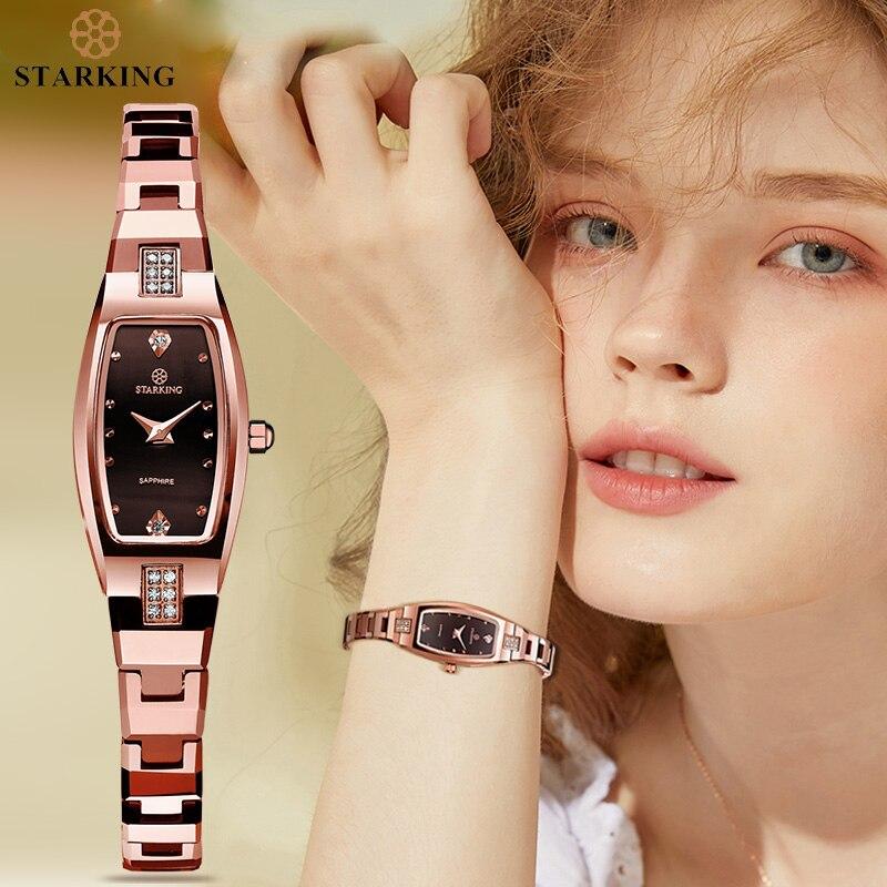 STARKING Jewelry reloj mujer cuarzo zafiro cristal reloj tungsteno acero pulsera pequeña Dial señoras reloj montre femme relocio