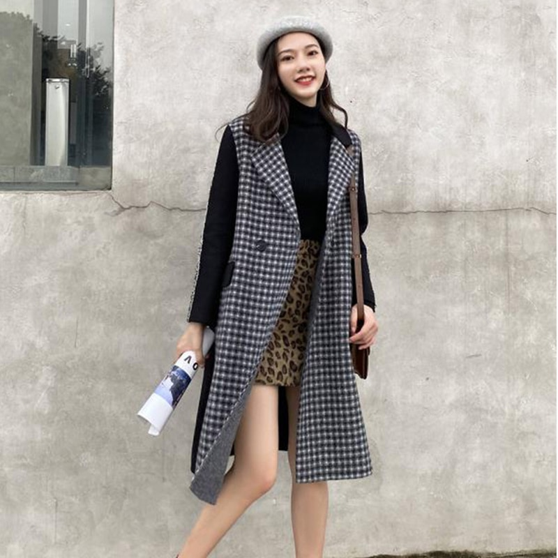 2020 Womens New Woolen Coat Spring, Autumn and Winter Casual Long Style Korean Fashion Q10