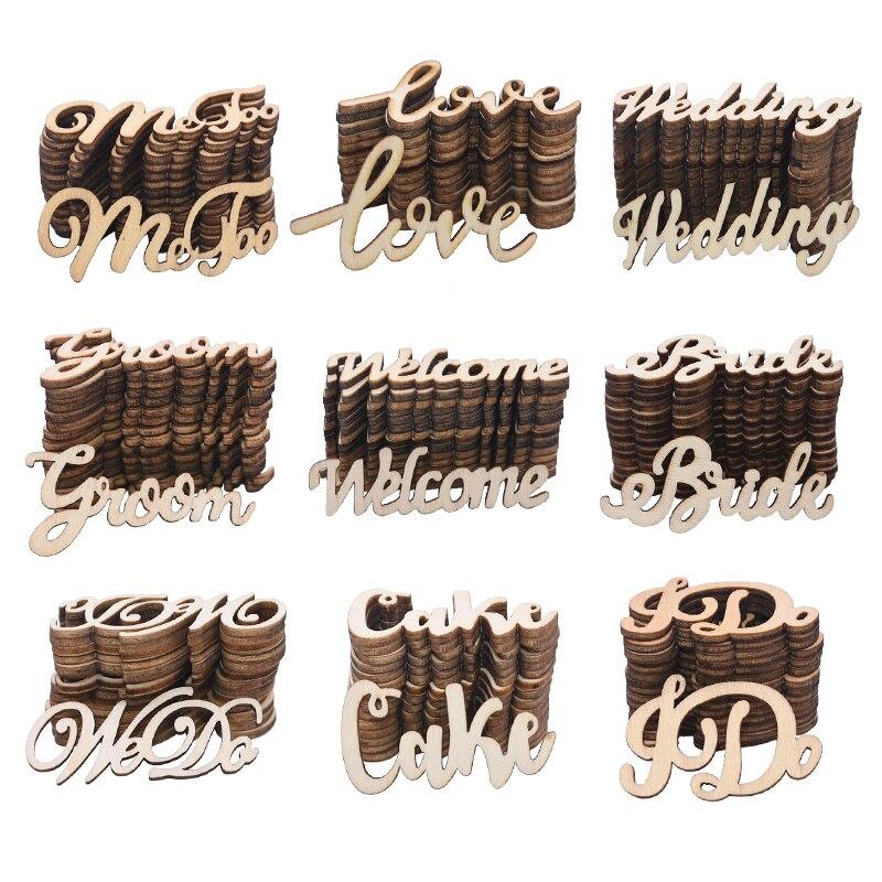 15/30 Uds Vintage cartas de amor sólo novia casada a ser de madera boda confeti Mesa bricolaje decoración Día de San Valentín de madera