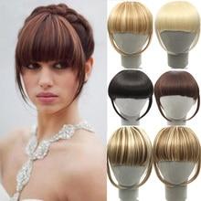 SHANGKE Fringe klip saç postiş klipsli postiş isıya dayanıklı sentetik sahte patlama saç parçası 8 renkler