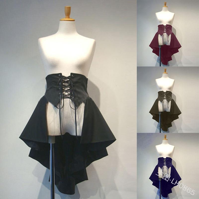 Falda Lolita clásica de mujer falda de algodón volantes de altura plisada Línea A corsé Medieval falda de encaje clarete gótico princesa falda