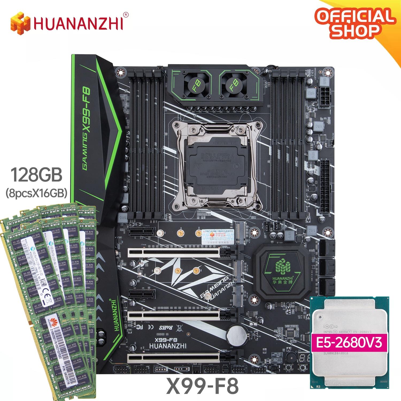 HUANANZHI X99 F8 X99 اللوحة مع إنتل زيون E5 2680 V3 مع 8*16G DDR4 RECC/NON-ECC الذاكرة كومبو كيت NVME SATA USB 3.0